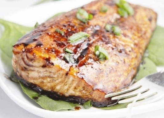 Balsamic and Raisin Glazed Salmon