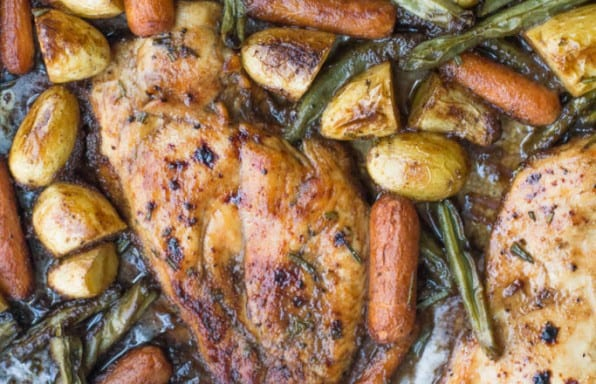 Paleo Sheet Pan Rosemary Balsamic Chicken and Veggies