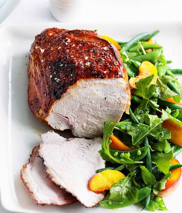 Vino Cotto Turkey with Peaches Green Bean Salad